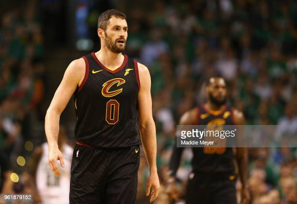 Kevin Love of the Cleveland Cavaliers looks on in the first half against the Boston Celtics during Game Five of the 2018 NBA Eastern Conference...