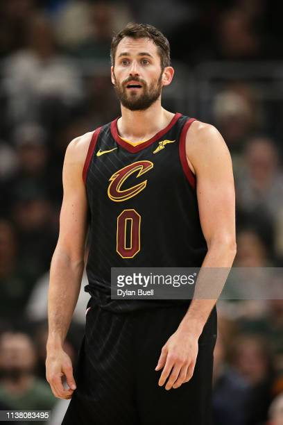 Kevin Love of the Cleveland Cavaliers looks on in the first quarter against the Milwaukee Bucks at the Fiserv Forum on March 24 2019 in Milwaukee...