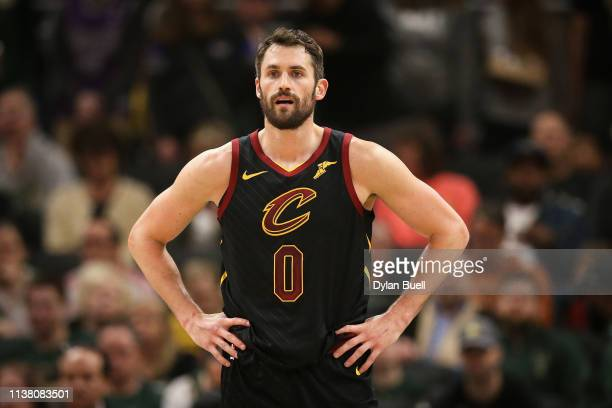 Kevin Love of the Cleveland Cavaliers looks on in the first quarter against the Milwaukee Bucks at the Fiserv Forum on March 24, 2019 in Milwaukee,...