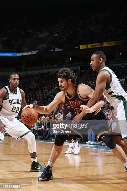 Kevin Love of the Cleveland Cavaliers looks to move the ball against the Milwaukee Bucks during the game on November 14 2015 at BMO Harris Bradley...