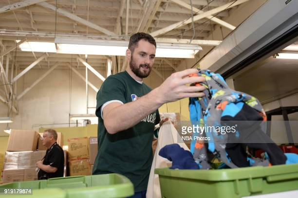 Kevin Love of the Cleveland Cavaliers participate with Baby2Baby during NBA Cares AllStar Day of Service as a part of 2018 NBA AllStar Weekend on...