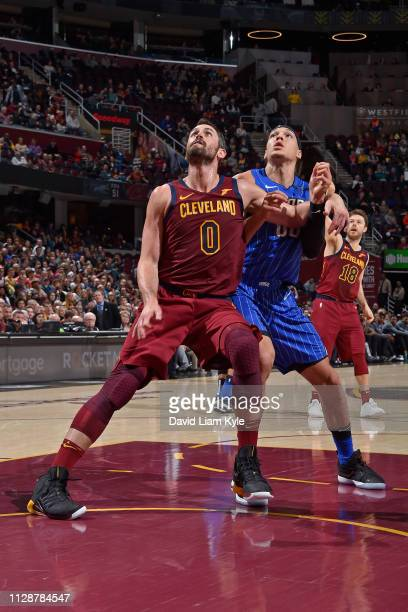 Kevin Love of the Cleveland Cavaliers plays defense against Aaron Gordon of the Orlando Magic on March 3 2019 at Quicken Loans Arena in Cleveland...