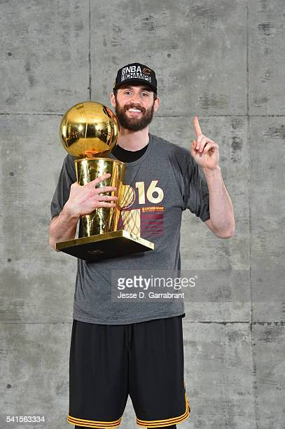 Kevin Love of the Cleveland Cavaliers poses for a portrait after winning the NBA Championship against the Golden State Warriors during the 2016 NBA...