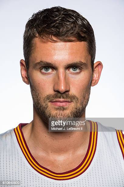 Kevin Love of the Cleveland Cavaliers poses for a portrait during 20162017 Cleveland Cavaliers Media Day at the Cleveland Clinic Courts on September...