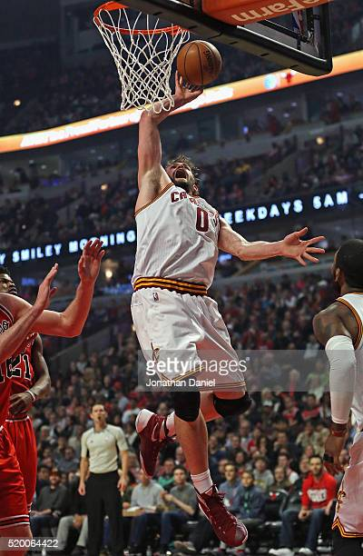 Kevin Love of the Cleveland Cavaliers puts up a shot against the Chicago Bulls at the United Center on April 9 2016 in Chicago Illinois NOTE TO USER...