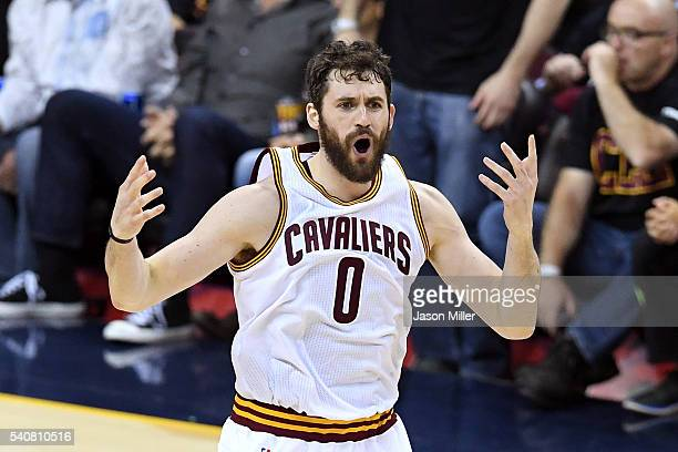 Kevin Love of the Cleveland Cavaliers reacts after a play in the first half against the Golden State Warriors in Game 6 of the 2016 NBA Finals at...