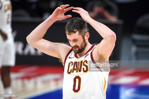 Kevin Love of the Cleveland Cavaliers reacts during the fourth quarter of the NBA game against the Detroit Pistons at Little Caesars Arena on April...