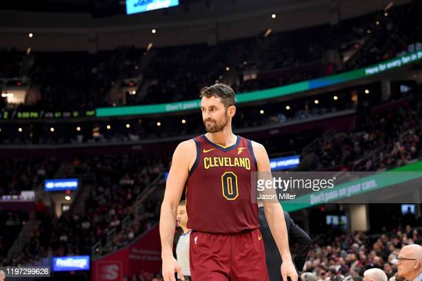 Kevin Love of the Cleveland Cavaliers reacts during the second half against the Charlotte Hornets at Rocket Mortgage Fieldhouse on January 02, 2020...