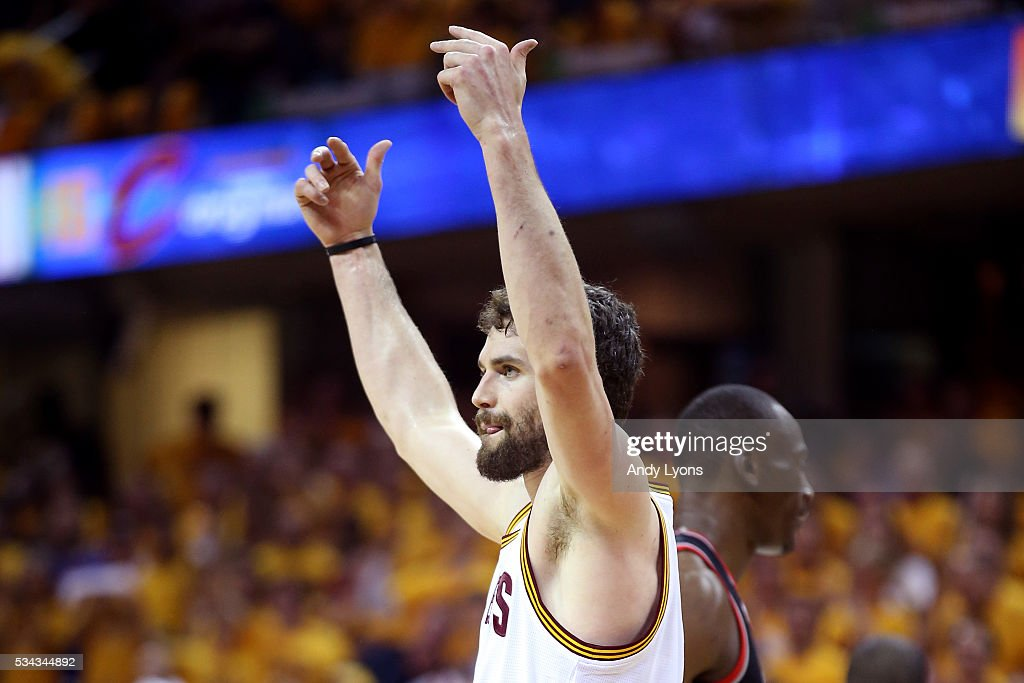 Kevin Love #0 of the Cleveland Cavaliers reacts in the first quarter against the Toronto Raptors in game five of the Eastern Conference Finals during the 2016 NBA Playoffs at Quicken Loans Arena on May 25, 2016 in Cleveland, Ohio.
