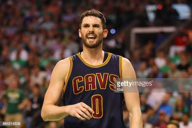 Kevin Love of the Cleveland Cavaliers reacts in the second half against the Boston Celtics during Game One of the 2017 NBA Eastern Conference Finals...