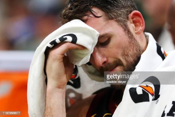 Kevin Love of the Cleveland Cavaliers reacts on the bench during the second half of the game against the Boston Celtics at TD Garden on December 09...