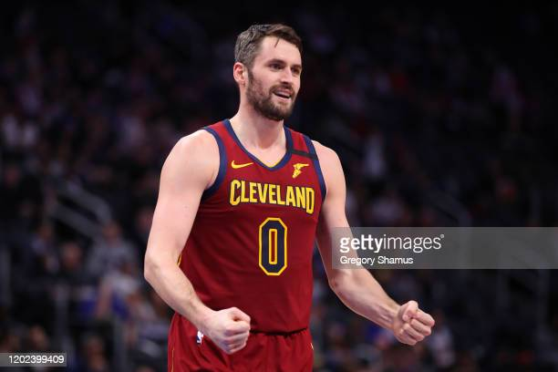 Kevin Love of the Cleveland Cavaliers reacts to a first half basket while playing the Detroit Pistons at Little Caesars Arena on January 27, 2020 in...