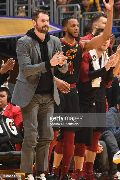 Kevin Love of the Cleveland Cavaliers reacts to a play during the game against the Los Angeles Lakers on January 13 2019 at STAPLES Center in Los...