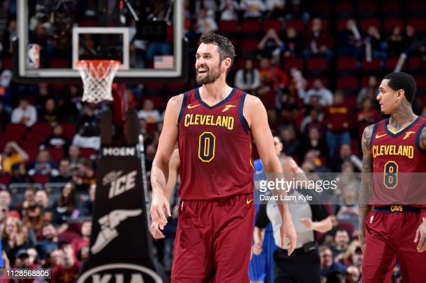 Kevin Love of the Cleveland Cavaliers reacts to a play during the game against the Orlando Magic on March 3 2019 at Quicken Loans Arena in Cleveland...