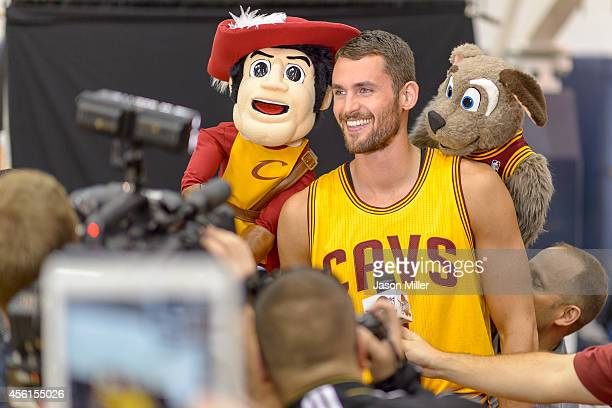 Kevin Love of the Cleveland Cavaliers records a promotional video for the team during media day at Cleveland Clinic Courts on September 26 2014 in...