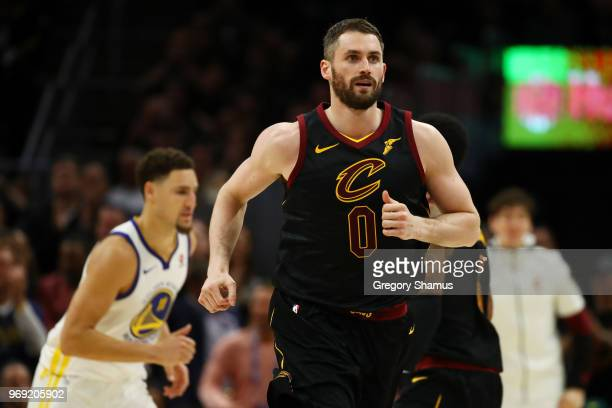 Kevin Love of the Cleveland Cavaliers runs down court against the Golden State Warriors during Game Three of the 2018 NBA Finals at Quicken Loans...