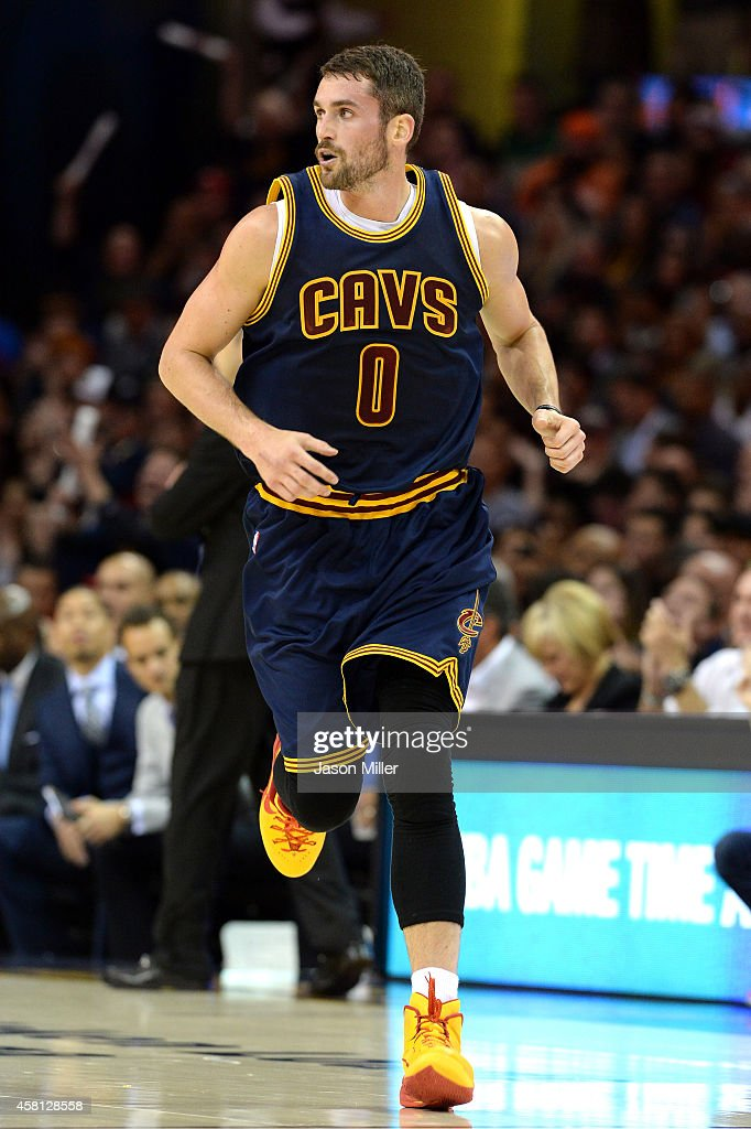 Kevin Love #0 of the Cleveland Cavaliers runs up court in the first half against the New York Knicks at Quicken Loans Arena on October 30, 2014 in Cleveland, Ohio.