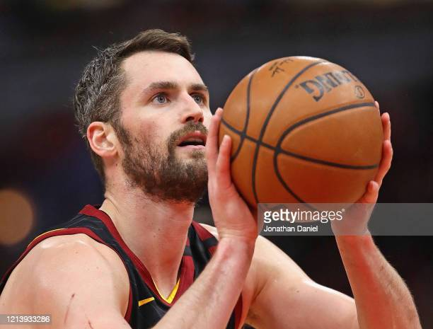 Kevin Love of the Cleveland Cavaliers shoots a free throw against the Chicago Bulls at the United Center on March 10, 2020 in Chicago, Illinois. NOTE...