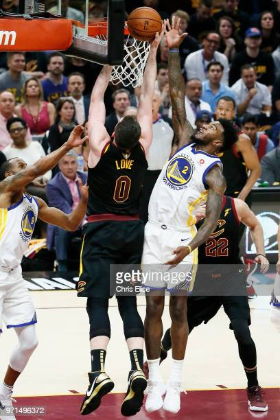 Kevin Love of the Cleveland Cavaliers shoots the ball against Jordan Bell of the Golden State Warriors in Game Four of the 2018 NBA Finals won 10885...