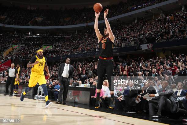 Kevin Love of the Cleveland Cavaliers shoots the ball against the Indiana Pacers in Game Seven of Round One of the 2018 NBA Playoffs on April 29 2018...