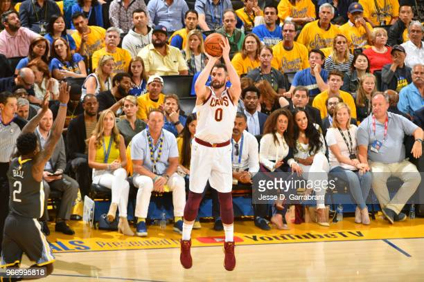 Kevin Love of the Cleveland Cavaliers shoots the ball against the Golden State Warriors in Game Two of the 2018 NBA Finals on June 3 2018 at ORACLE...