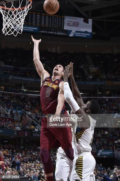 Kevin Love of the Cleveland Cavaliers shoots the ball during the game against the Indiana Pacers on November 1 2017 at Quicken Loans Arena in...