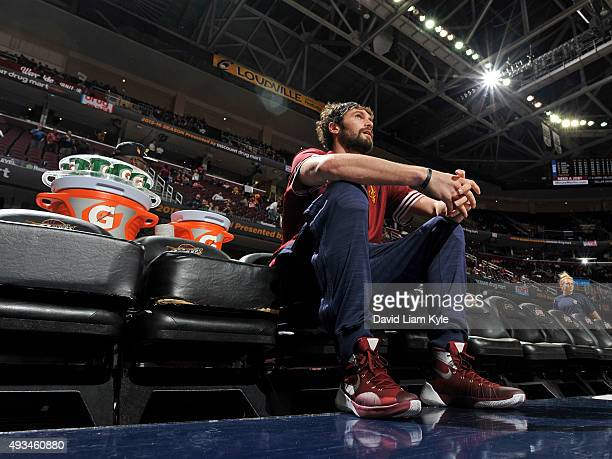 Kevin Love of the Cleveland Cavaliers sits on the bench against the Dallas Mavericks on October 19 2015 at Quicken Loans Arena in Cleveland Ohio NOTE...