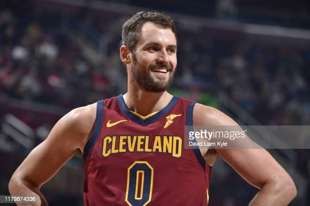 Kevin Love of the Cleveland Cavaliers smiles during a game against the Dallas Mavericks on November 3, 2019 at Rocket Mortgage FieldHouse in...
