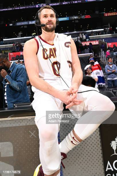 Kevin Love of the Cleveland Cavaliers talks to the media on the court after the game against the LA Clippers on October 27, 2021 at STAPLES Center in...