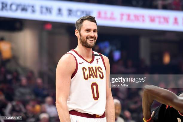Kevin Love of the Cleveland Cavaliers waits during a free throw during the first half against the Toronto Raptors at Rocket Mortgage Fieldhouse on...