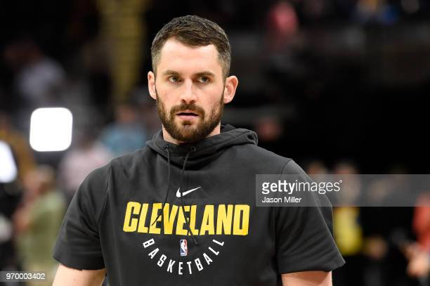 Kevin Love of the Cleveland Cavaliers warms up before Game Four of the 2018 NBA Finals against the Golden State Warriors at Quicken Loans Arena on...