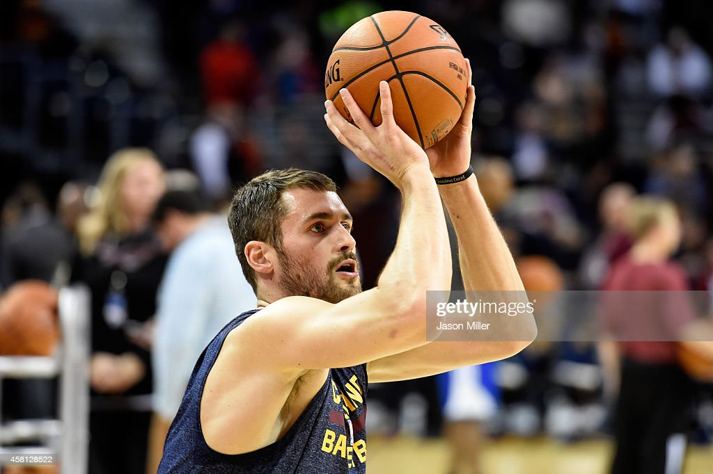 Kevin Love #0 of the Cleveland Cavaliers warms up prior to a game against the New York Knicks at Quicken Loans Arena on October 30, 2014 in Cleveland, Ohio.