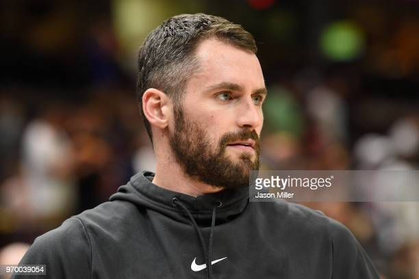 Kevin Love of the Cleveland Cavaliers warms up prior to Game Four of the 2018 NBA Finals against the Golden State Warriors at Quicken Loans Arena on...