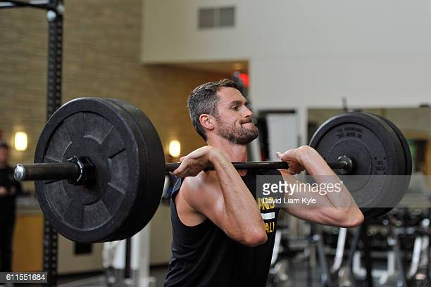 Kevin Love of the Cleveland Cavaliers works out in the weight room before a practice at The Cleveland Clinic Courts on September 28 2016 in...
