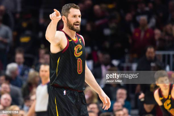 Kevin Love of the Cleveland Cavaliers yells to a teammate during the first half against the Indiana Pacers of Game 2 of the first round of the...