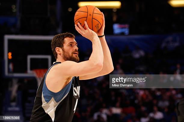 Kevin Love of the Minnesota Timberwolves competes during the Foot Locker Three-Point Contest part of 2012 NBA All-Star Weekend at Amway Center on...