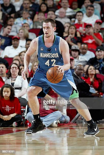 Kevin Love of the Minnesota Timberwolves drives the ball up court during the game against the Houston Rockets on March 20 2009 at the Toyota Center...