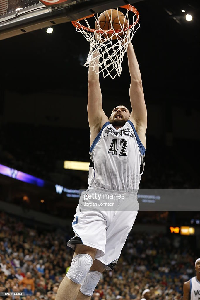 Kevin Love #42 of the Minnesota Timberwolves dunks the ball against the Denver Nuggets on November 21, 2012 at Target Center in Minneapolis, Minnesota.