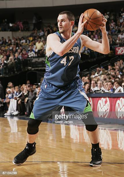 Kevin Love of the Minnesota Timberwolves holds the ball against the Dallas Mavericks during the game on April 13 2009 at the American Airlines Center...