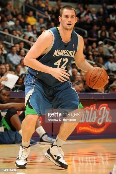 Kevin Love of the Minnesota Timberwolves moves the ball to the basket during the game against the Los Angeles Lakers on December 11 2009 at Staples...