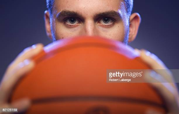 Kevin Love of the Minnesota Timberwolves poses for a portrait during the 2008 NBA Rookie Photo Shoot on July 29 2008 at the MSG Training Facility in...