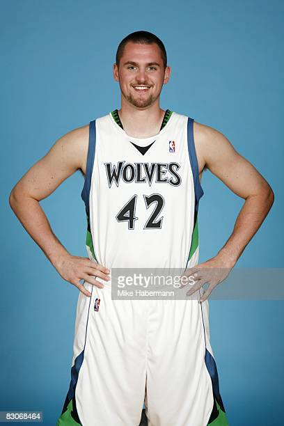 Kevin Love of the Minnesota Timberwolves poses for a portrait during NBA Media Day on September 29 2008 at the Target Center in Minneapolis Minnesota...