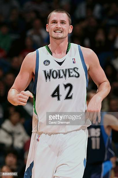 Kevin Love of the Minnesota Timberwolves reacts during the game against the Dallas Mavericks on November 1 2008 at the Target Center in Minneapolis...