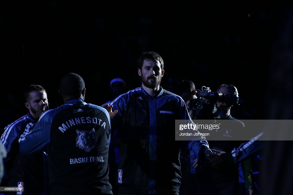 Kevin Love #42 of the Minnesota Timberwolves runs out before the game against the Cleveland Cavaliers on November 13, 2013 at Target Center in Minneapolis, Minnesota.