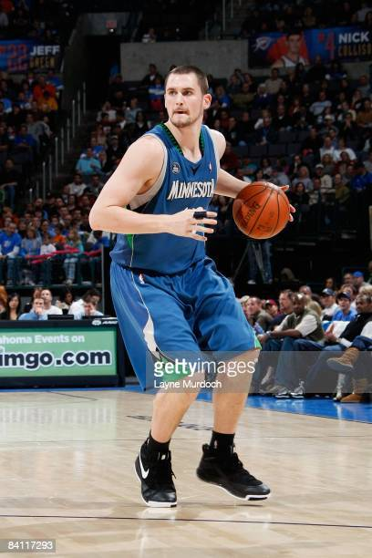 Kevin Love of the Minnesota Timberwolves surveys the court during the game against the Oklahoma City Thunder on November 28 2008 at the Ford Center...