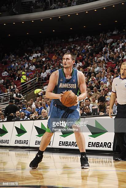 Kevin Love of the Minnesota Timberwolves thinks about shooting during the game against the Orlando Magic on December 3, 2008 at Amway Arena in...