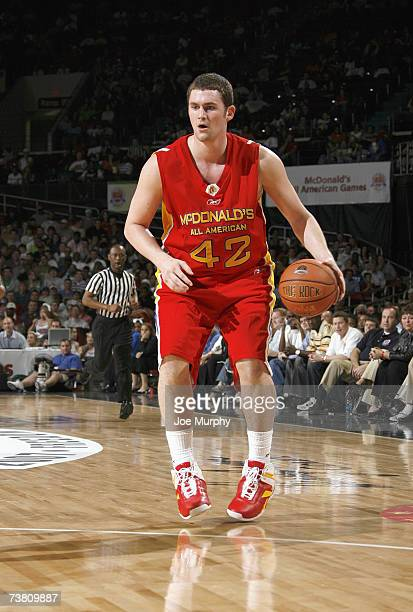 Kevin Love of the West Team dribbles against the East Team during the Boy's McDonald's All American High School Basketball Game on March 28 2007 at...