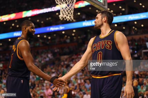 Kevin Love reacts with Tristan Thompson of the Cleveland Cavaliers in the second half against the Boston Celtics during Game One of the 2017 NBA...