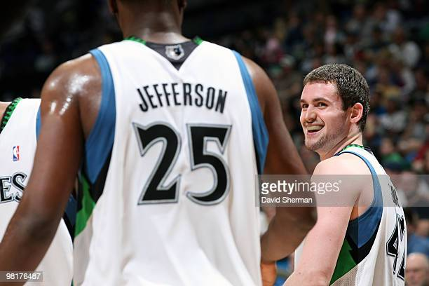 Kevin Love shares a laugh with teammate Al Jefferson of the Minnesota Timberwolves during the game against the Sacramento Kings on March 31 2010 at...
