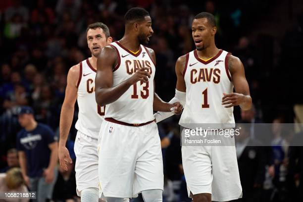 Kevin Love Tristan Thompson and Rodney Hood of the Cleveland Cavaliers look on during the game against the Minnesota Timberwolves on October 19 2018...